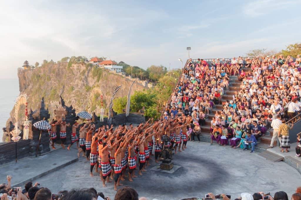 Uluwatu Temple people performing fire dance
