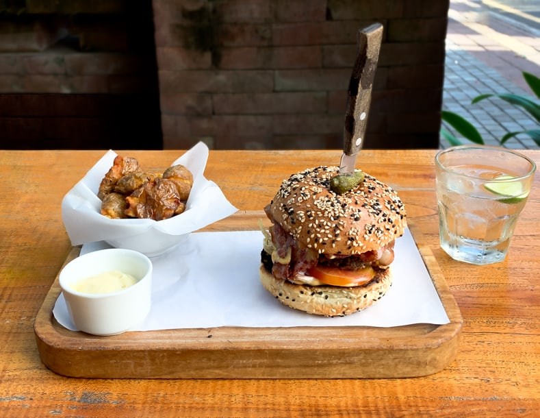 Burger and Home Fries in Ubud