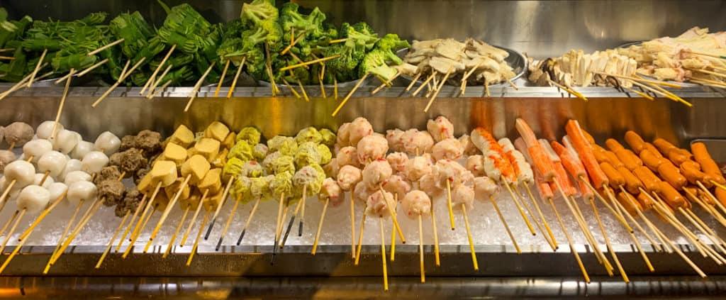 Meat and Vegetable Skewers Jalan Alor Night Market Kuala Lumpur Cheap Eats Food