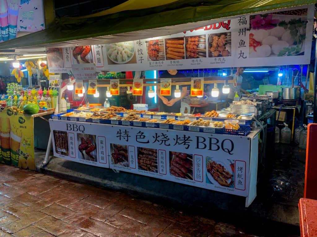 BBQ Vendor Kuala Lumpur Night Market Cheap Eats Food