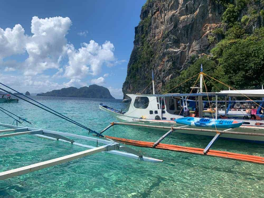 Coron phillipines amazing view of clear ocean water on bangka boat