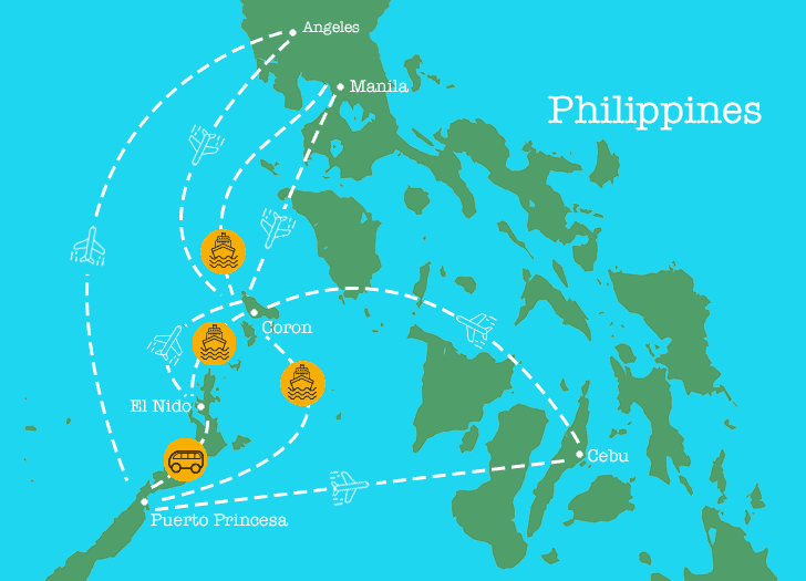 Route map of transportation flight paths in Coron area.