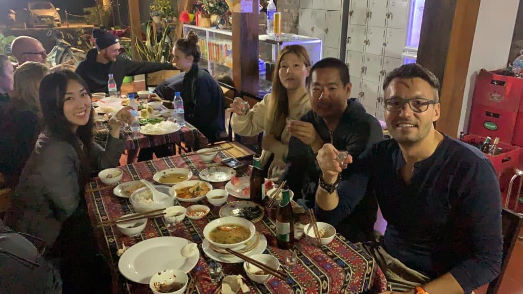 Eating dinner at QT Hostel in Da Gia, Vietnam