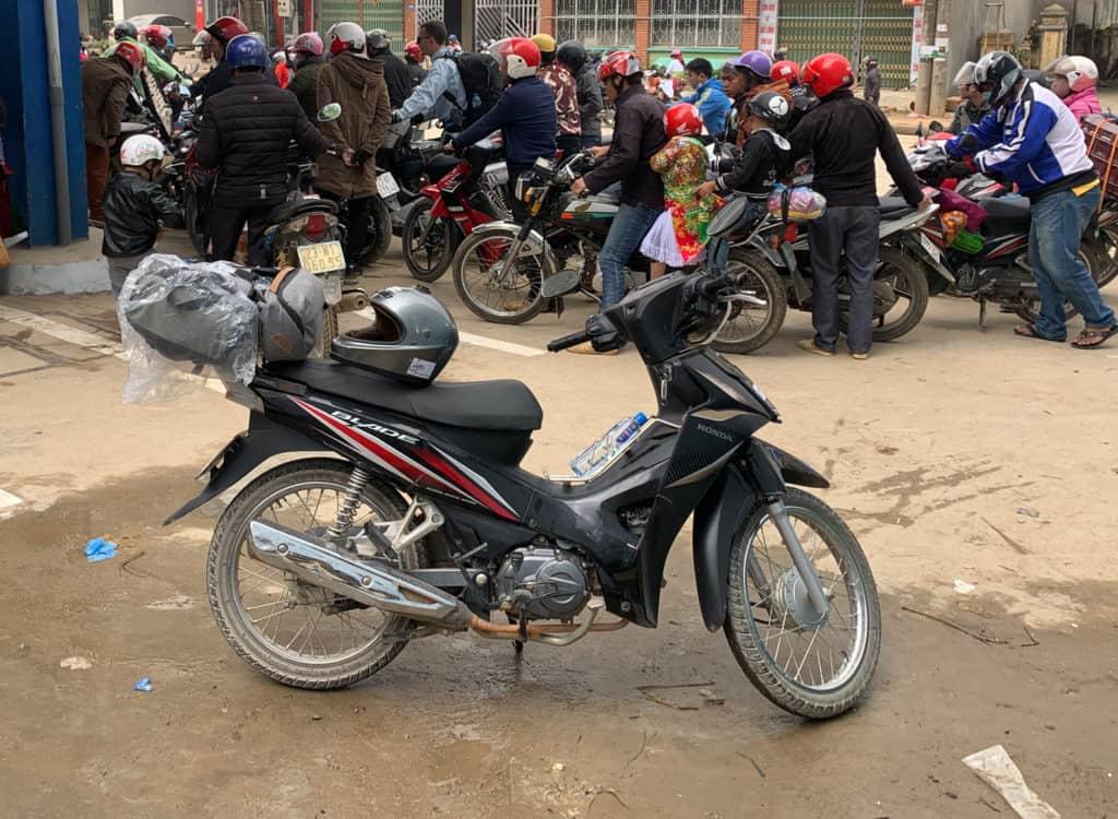 Motorbike at gas station in Ha Giang loop Vietnam