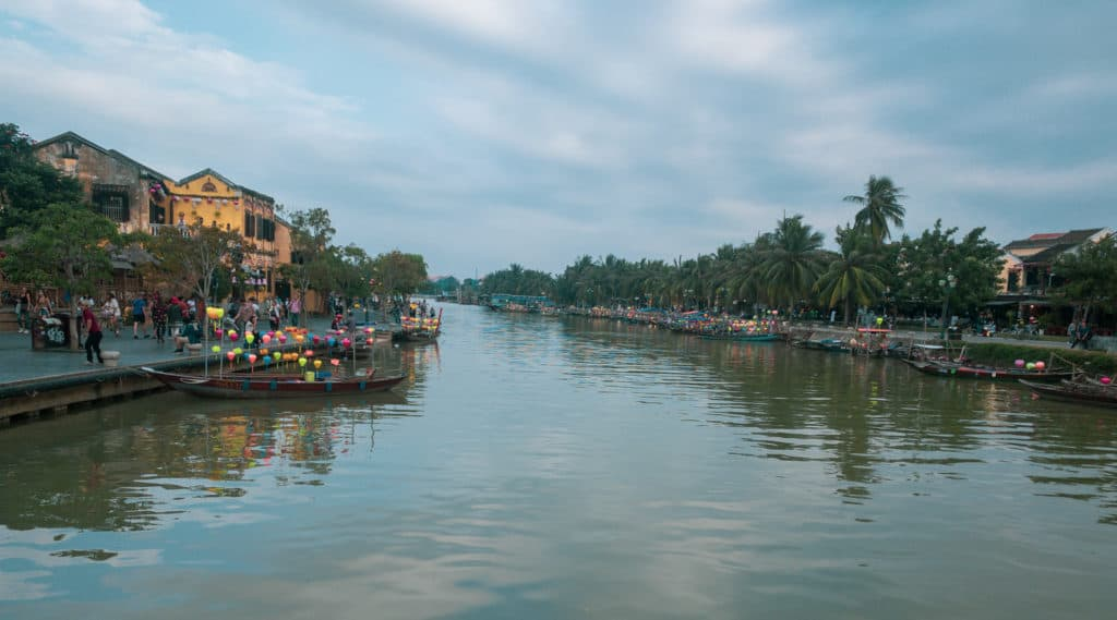 Water canal in Ancient Town, Hoi An City, Vietnam. Ancient Town is a well preserved historic district.