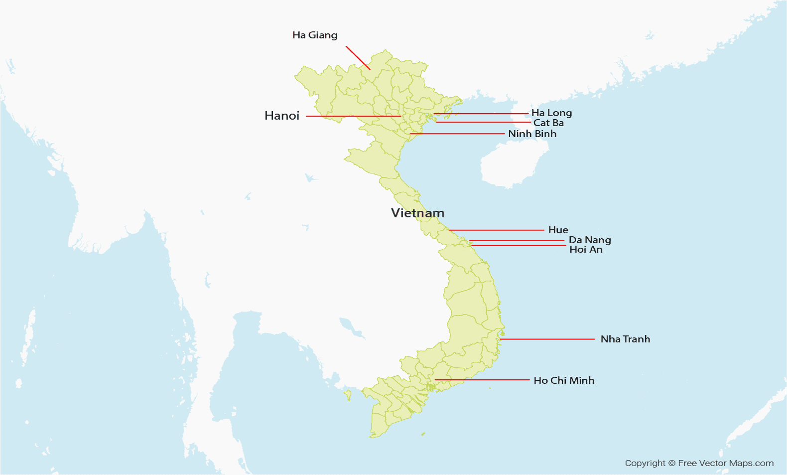 Map of Vietnam showing list of 10 best cities to visit