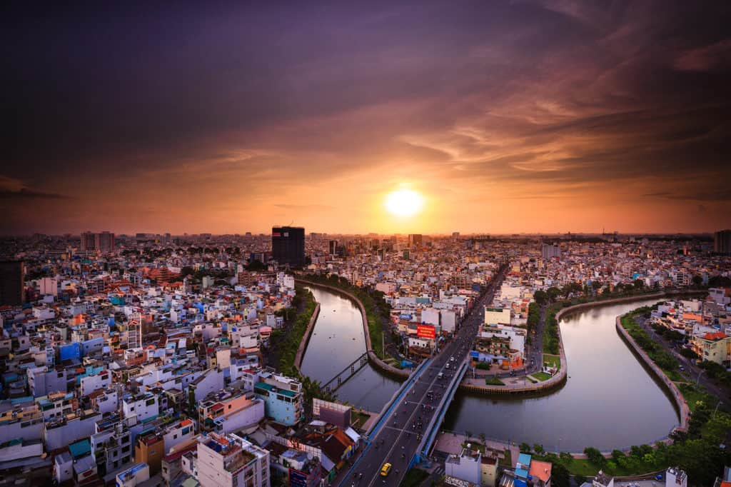 Aerial view of Ho Chi Minh City at sunset in Vietnam.