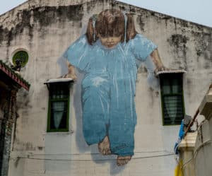 Kung Fu Girl Street Art in George Town,Penang, Malaysia