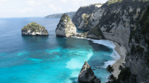 Diamond Beach Nusa Penida Background Image from high angle overlooking beautiful aqua beach with white sand.