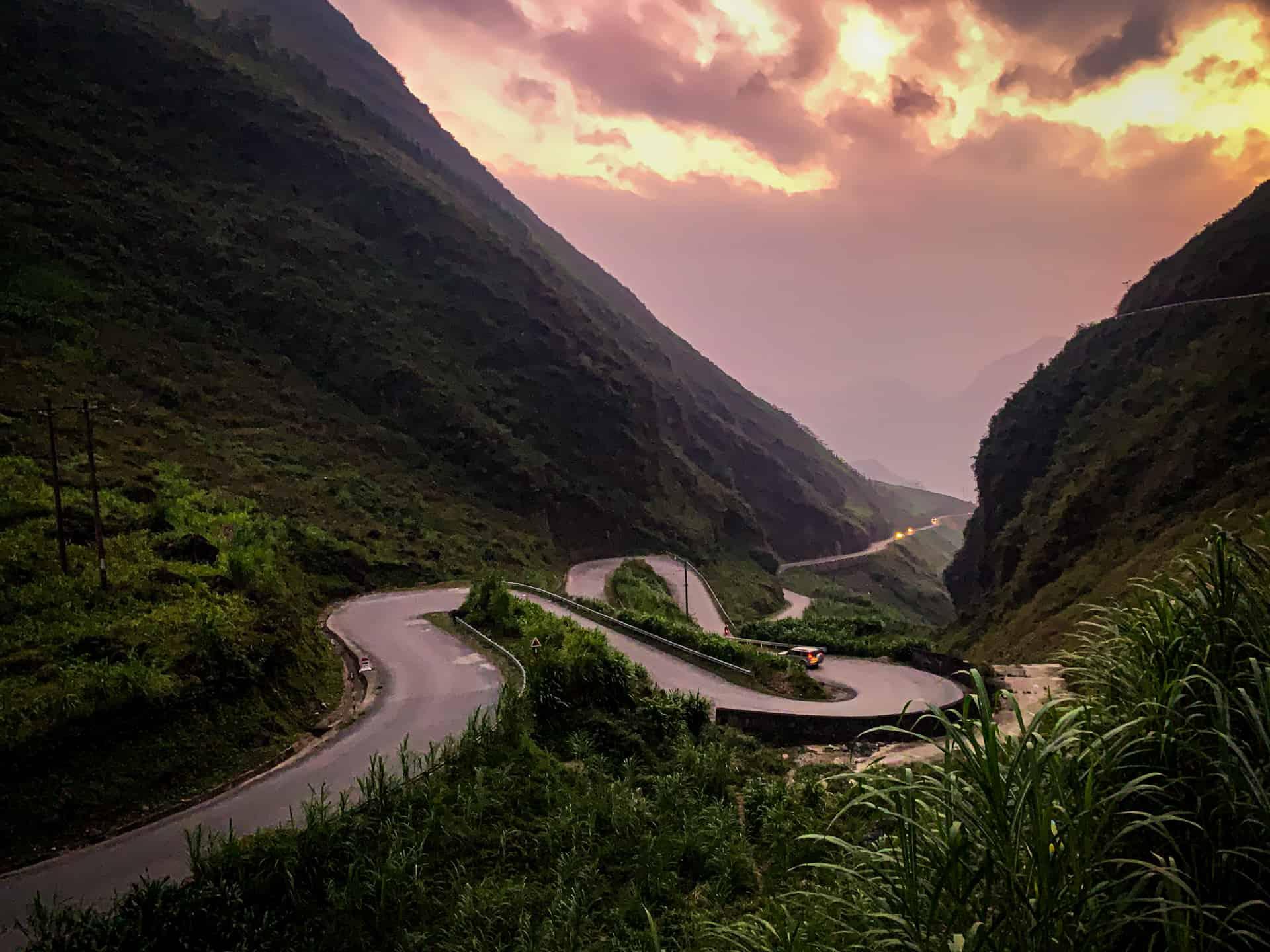 Winding road at sunset Ha Giang Motorbike loop