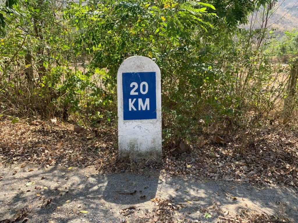 20km marker on the way to Dee Doke Waterfall