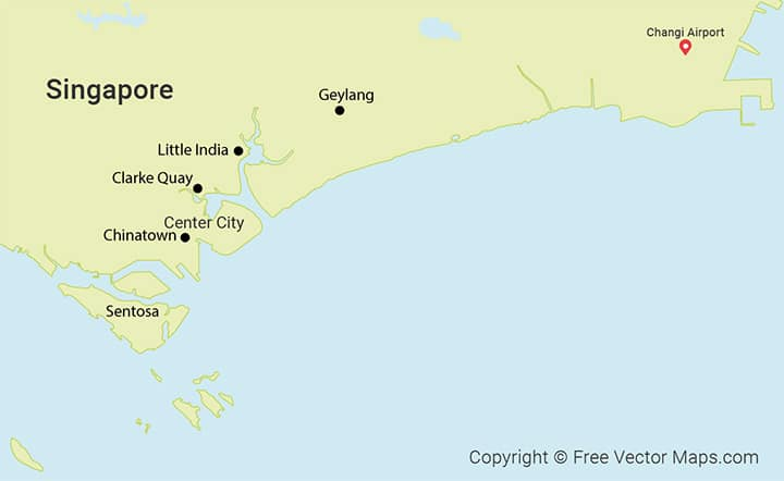 Singapore Area Map - Best Areas for budget Accommodation
