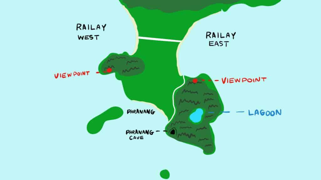 Railay from Ao Nang Map