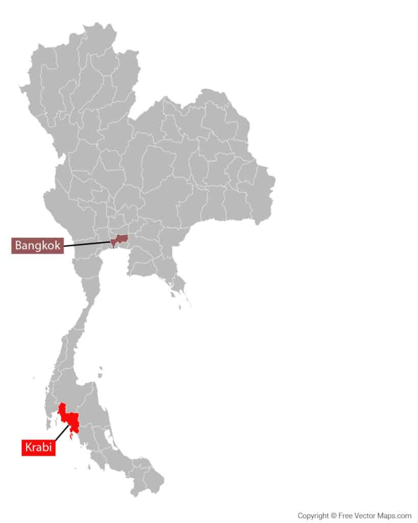 Krabi Province Thailand Area Map