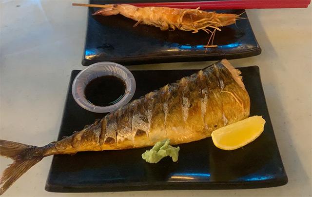 Grilled Mackerel and Tiger Prawn